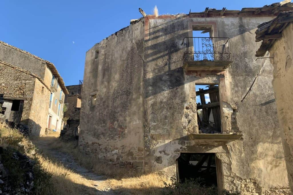 Ruined house in abandoned village of Esco, Spain